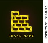 brick wall golden metallic logo