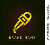 microphone golden metallic logo