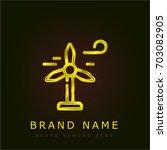 wind mill golden metallic logo