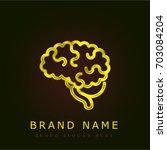 neurology golden metallic logo | Shutterstock .eps vector #703084204