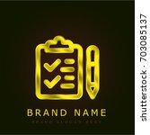 checklist golden metallic logo