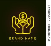 growth golden metallic logo