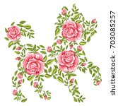 vector dog with floral ornament....   Shutterstock .eps vector #703085257