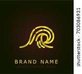 wave golden metallic logo