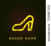 high heels golden metallic logo