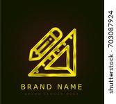 set square golden metallic logo