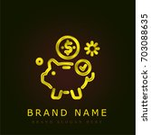 piggy bank golden metallic logo