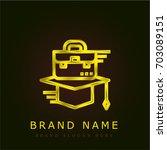 mortarboard golden metallic logo