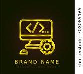 coding golden metallic logo