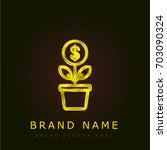 growth golden metallic logo