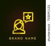 review golden metallic logo