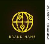 worldwide golden metallic logo