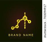 line graph golden metallic logo | Shutterstock .eps vector #703094917