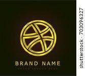 dribbble golden metallic logo