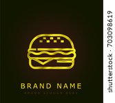 burger golden metallic logo | Shutterstock .eps vector #703098619