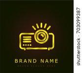 projector golden metallic logo