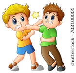 vector illustration of two boys ... | Shutterstock .eps vector #703100005