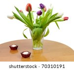 Home Table With Tulip Flowers...