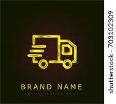 delivery truck golden metallic...