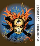 skulls rock and fire danger... | Shutterstock .eps vector #703105087