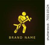 singer golden metallic logo