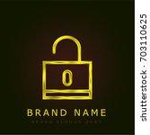 locked golden metallic logo