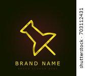 push pin golden metallic logo