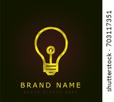 light bulb golden metallic logo