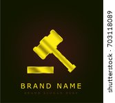 wood hammer golden metallic logo