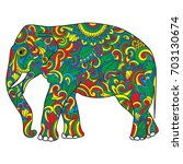 vintage elephant with tribal... | Shutterstock .eps vector #703130674