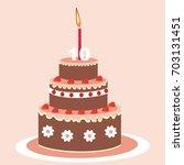 birthday cake  ten year  vector ... | Shutterstock .eps vector #703131451