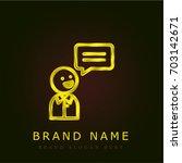 speaking golden metallic logo