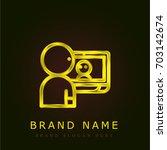 videocall golden metallic logo