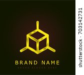 cube golden metallic logo