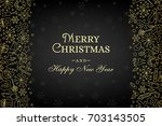 christmas card with line art... | Shutterstock .eps vector #703143505