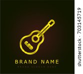 guitar golden metallic logo