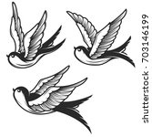 set of swallow illustrations... | Shutterstock . vector #703146199