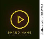 play button golden metallic logo