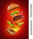 the hamburger with flying...   Shutterstock . vector #703151665