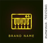 keyboard golden metallic logo