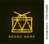 drum golden metallic logo