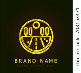 road golden metallic logo