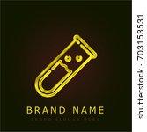 test tube golden metallic logo