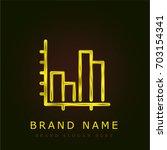 statistics golden metallic logo