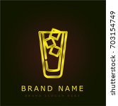 iced coffee golden metallic logo