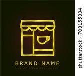 coffee shop golden metallic logo