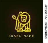 circus lion golden metallic logo