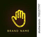 hand golden metallic logo