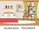 the interior of the bedroom.... | Shutterstock .eps vector #703160635
