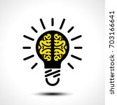light bulb idea with brain... | Shutterstock .eps vector #703166641